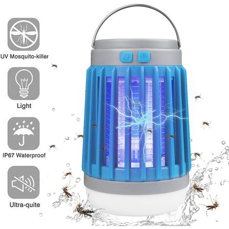 LED Solar Lamp 10 W LED, Mosquito repellent with UV light and High Voltage Current, Waterproof rating IP67, Blue
