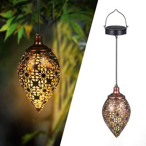 LED solar lantern for outdoor, solar lantern to hang, metal decoration for garden, patio, balcony [Energy class A +]