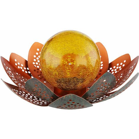 LED Solar Lotus Flower Deco Lámpara Ball Crackle -Glass Outdoor Garden Spotlights Blossom Patio Balcony Light Green -gold