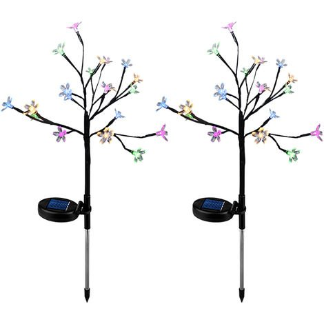 LED Solar Powered Lights Christmas Halloween Decorative Stake Lights Colorful Fairy Flower Tree Lamp