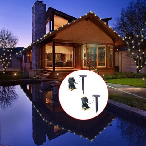 LED Solar String Lights 2 pcs Warm White - Black