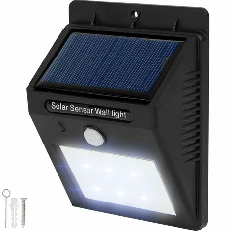 LED solar wall light with motion detector - solar security light, outdoor LED light, solar shed light - schwarz
