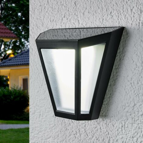 LED solar wall light Yago, frosted lampshade