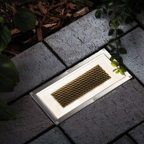 LED Solarbodeneinbaustrahler Cube in Edelstahl 0,6W 7,5lm 200x100mm EEK A [Spektrum A++ bis E]