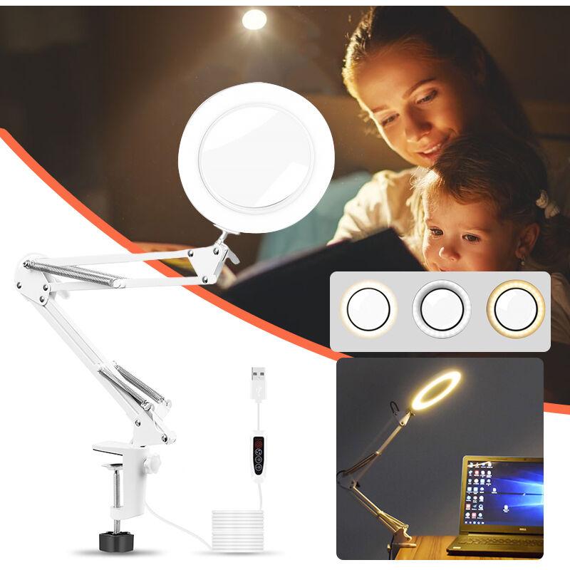 LED à souder USB 5x Zoom grossissant avec rotation à 360 degrés et interrupteur d'éclairage Dimmable, pince à bras pivotant en métal pour aider