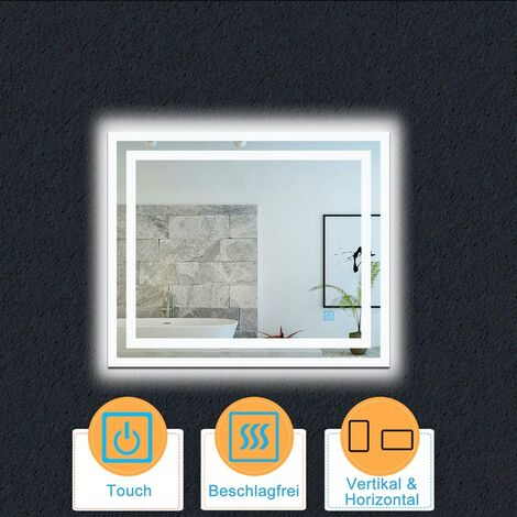 LED Spiegel 50-100 cm TOUCH BESCHLAGFREI Badspiegel mit Beleuchtung Wandspiegel Lichtspiegel