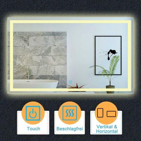 LED Spiegel Warmweiß 80-120 cm Touch Beschlagfrei Wandspiegel Lichtspiegel