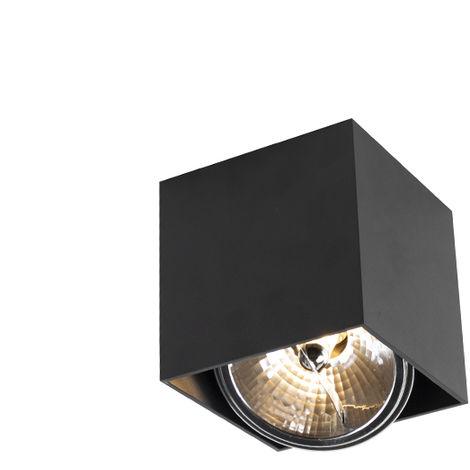 LED Spot de Plafond Design carré 1 lumière noir incl.1 x G9 - Boîte Qazqa Design, Industriel / Vintage, Moderne Luminaire interieur cube Carré