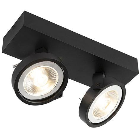 LED Spot de Plafond Design noir orientable 2 lumières incl.2 x G53- Go Large Qazqa Moderne Luminaire interieur