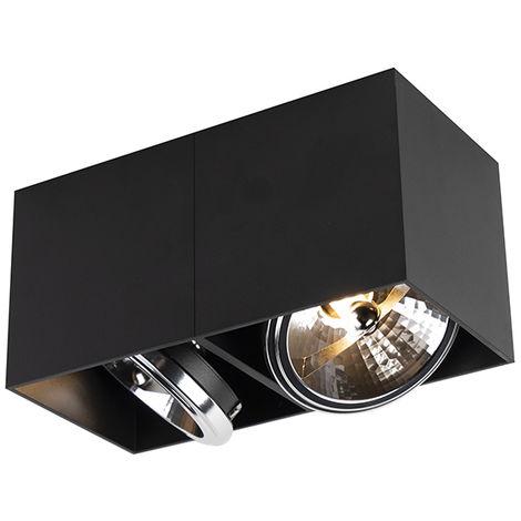 LED Spot de Plafond Design rectangulaire à 2 ampoules noir avec 2 x G9 - Boîte Qazqa Moderne Luminaire interieur