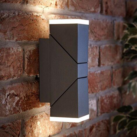 LED Square Up Down Modern Black Outdoor Wall Light Garden Porch Door IP54 A++