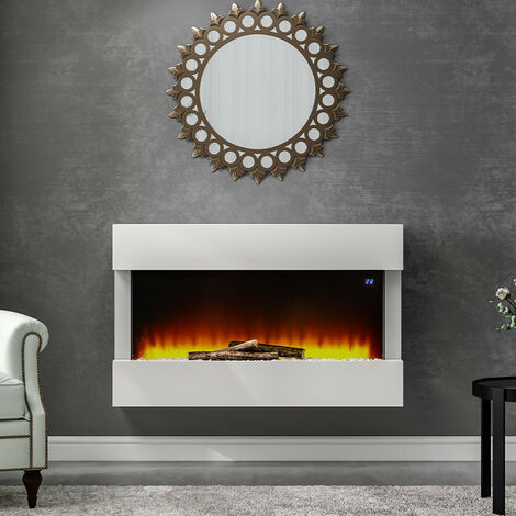 LED Standing Electric Fireplace 7 Flame Colours with Remote Control