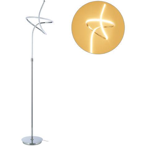 LED Stehlampe, ausgefallenes & modernes Design, für Wohnzimmer, Metall, Stehleuchte, HxD: 180 x 33 cm, silber