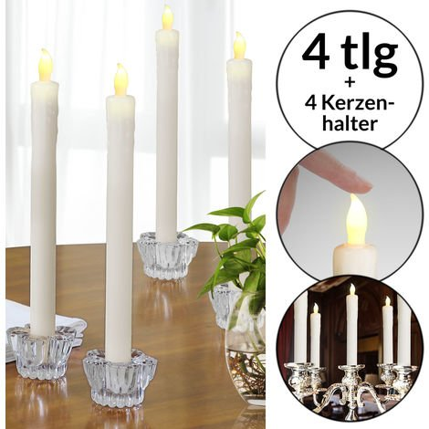 LED Stick Candles 4x Real Wax Ø 2.5 cm Flickering With Candle Holder