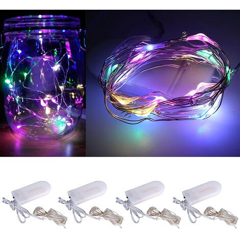 LED String Lights Battery Powered Copper Wire Starry Fairy Lights Battery Operated Lights 1m/3.2 ft RGB