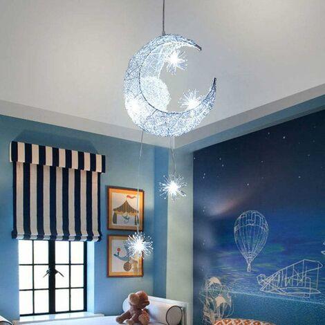"""main image of """"LED Suspension Plafonnier Lampe de Fée Lune et étoiles Lustre de Chambre à Coucher Grand Cadeau Pour Enfant Ami (Blanc Froid)"""""""
