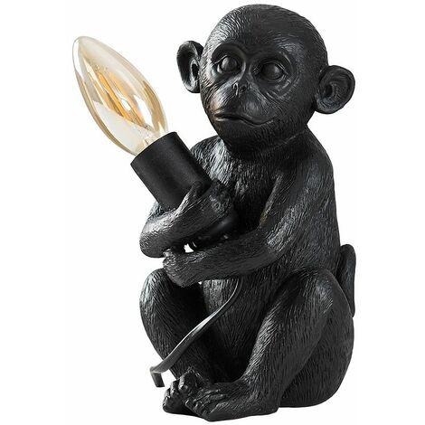 LED Table Lamp Baby Monkey Holding Bulb Animal Theme - Black LED - Black