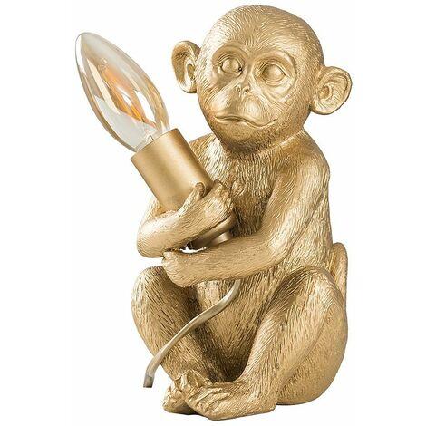 LED Table Lamp Baby Monkey Holding Bulb Animal Theme - Gold LED - Gold