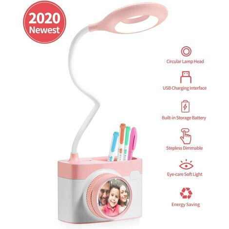 LED Table, Reading Lamp for Children, Touch Adjustable Brightness, USB Rechargeable