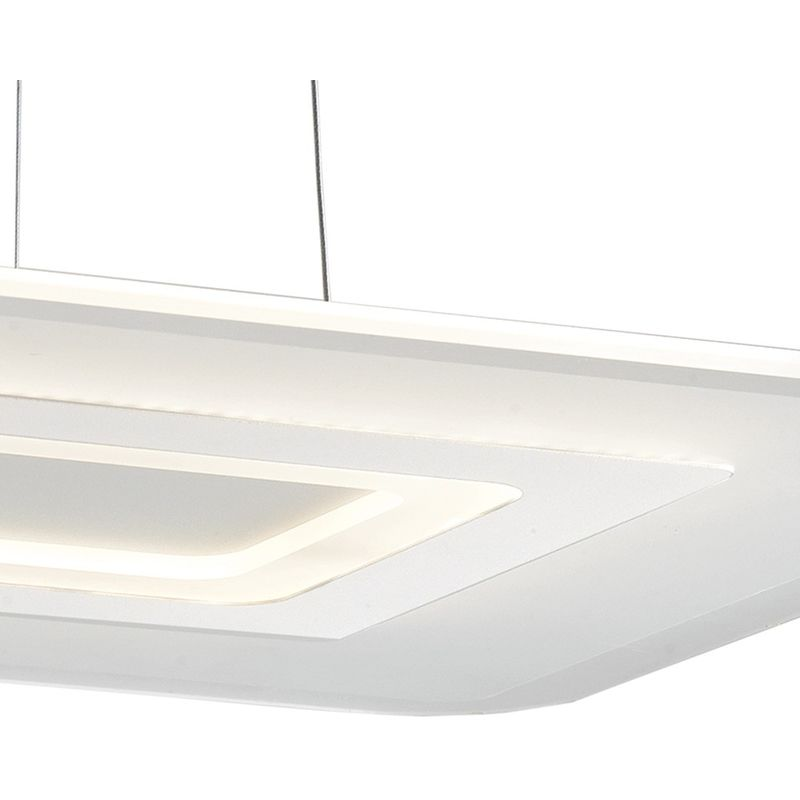 Lampadario Bianco Opaco : Led tresor s lampadario sospeso rettangolare bianco metallo
