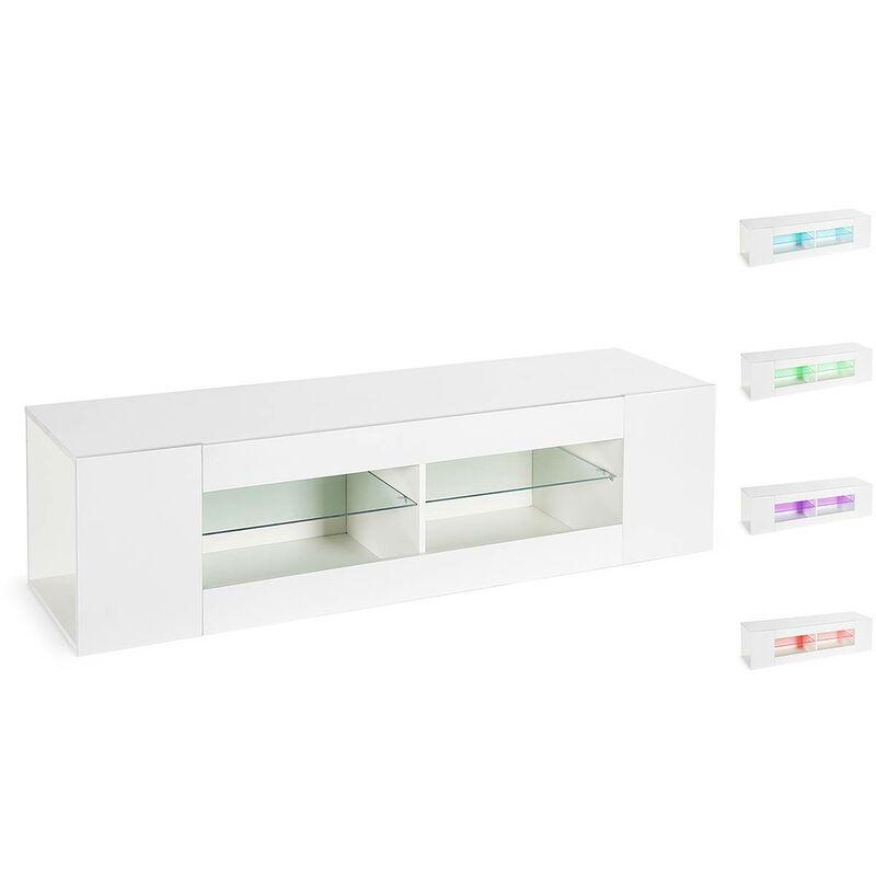 Habitat Et Jardin - LED TV-Schrank, Fernsehmöbel Rain - Weiß lackiert