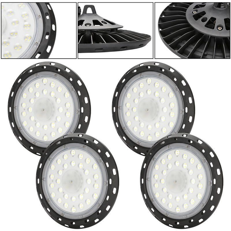 LED Hallenbeleuchtung UFO Kaltweiß 4X100W Abstrahlwinkel 120° IP65 Wasserdichte 108 Lampenperlen 6000-6500K Industrial Kronleuchter [Energieklasse