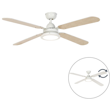 LED Ventilateur de plafond blanc avec télécommande - Fanattic Qazqa Moderne Luminaire interieur Rond