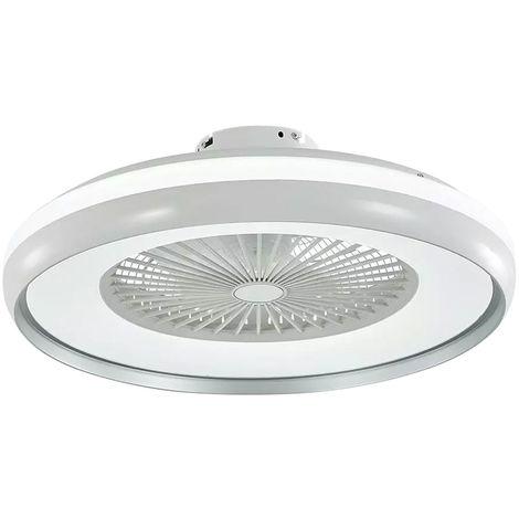 LED ventilateur de plafond lumière télécommande lampe du jour ventilateur 3 vitesses blanc / gris