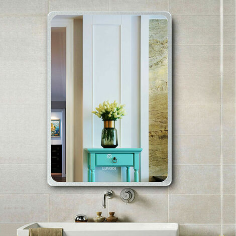 LED Wall Backlit Mirror Bathroom Vanity Makeup Mirror Fogless Brightness Adjust,600x800mm