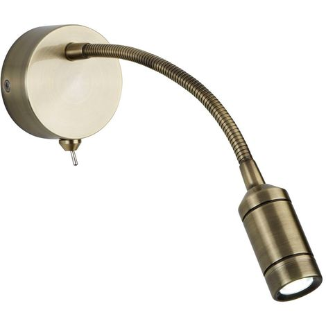 LED WALL LIGHT - FLEXI ARM - ANTIQUE BRASS