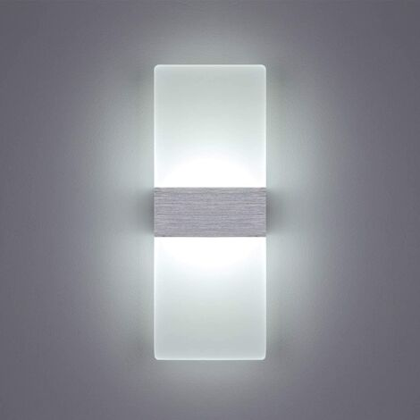 LED Wall Light Indoor 12W Wall Lamp Cold White Glass Simple Design Brush Gray AC 220V for Bedroom Living Room Bathroom 29CM [Energy class A +]