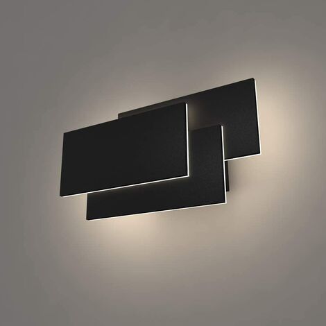 LED Wall Light Indoor 24W Modern Wall Lamp Simple Wall Sconce Cold White 3 in 1 Wall Light Fixture for Living Room Bedroom Stairwell Hallway Black