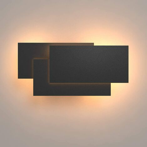 LED Wall Light Indoor 24W Modern Wall Lamp Simple Wall Sconce Warm White 3 in 1 Wall Light Fixture for Living Room Bedroom Stairwell Hallway Black