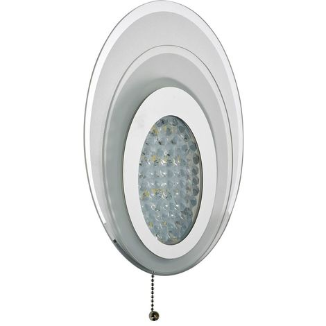 LED WALL LIGHT OVAL LAYERED WALL BRACKET, CHROME, FROSTED GLASS