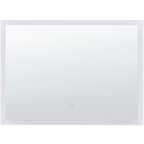 LED Wall Mirror 60 x 80 cm Silver ADOUR