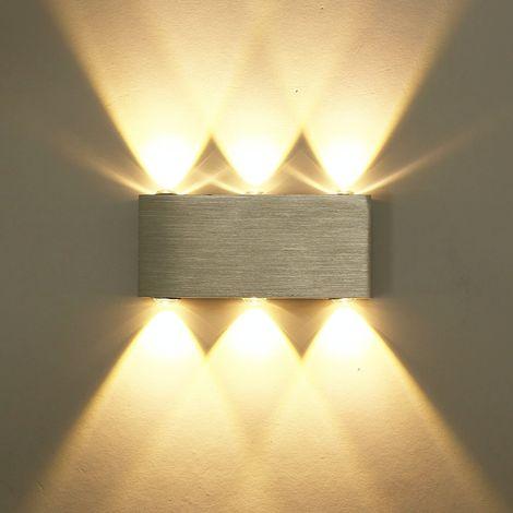 """main image of """"LED Wandleuchte 6W Moderne Wandleuchte Warmweiß Aluminium Deckenleuchte für Schlafzimmer Wohnzimmer Bad Flur Treppe (Silber)"""""""
