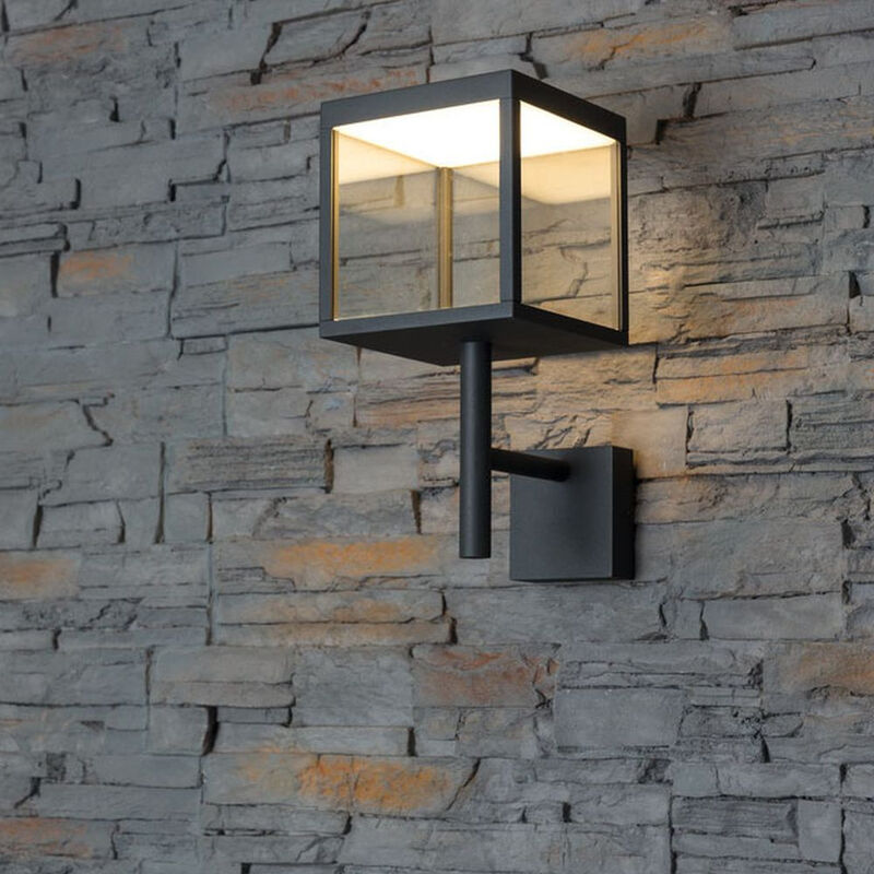 LED Wandleuchte Ravenna 10 Watt Warmton schwarz Tür Eingang Haus