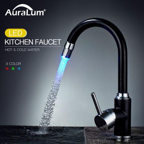 LED Wasserhahn Küche Küchenarmatur 360° Drehbar Spültischarmatur Wasserhahn Mischbatterie mit 3-Farbtemperaturkontrolle, schwarz Chrom