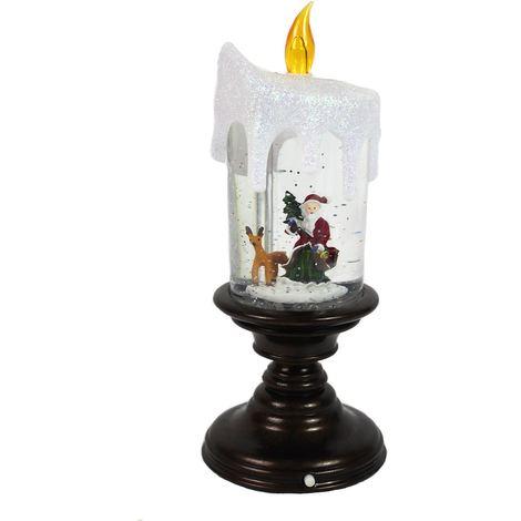 LED Water Candlestick Santa Scene Traditional Christmas Glitter Snow Globe Xmas