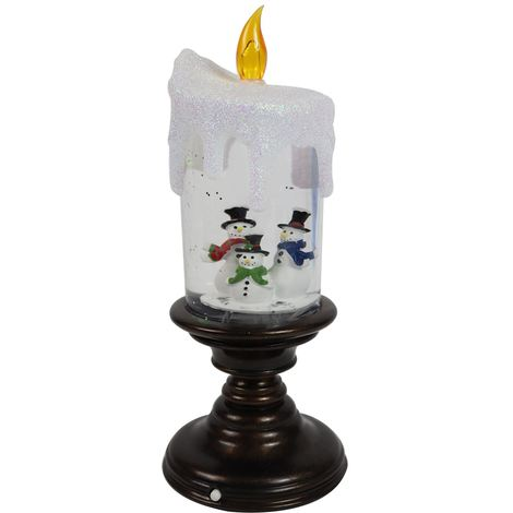 LED Water Candlestick Snowman Scene Traditional Christmas Glitter Snow Globe