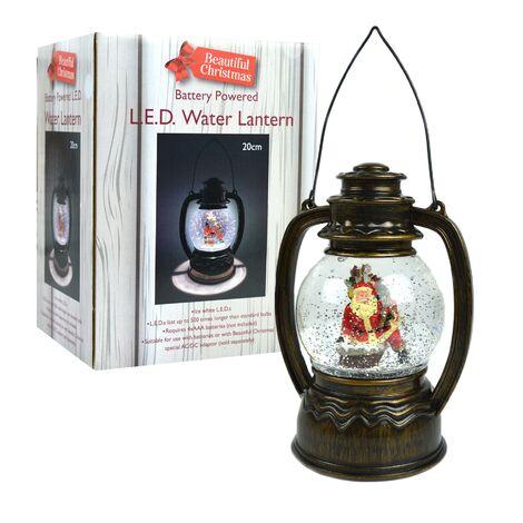 LED Water Lantern Christmas Xmas Decoration Santa Glitter Snow Battery Operated