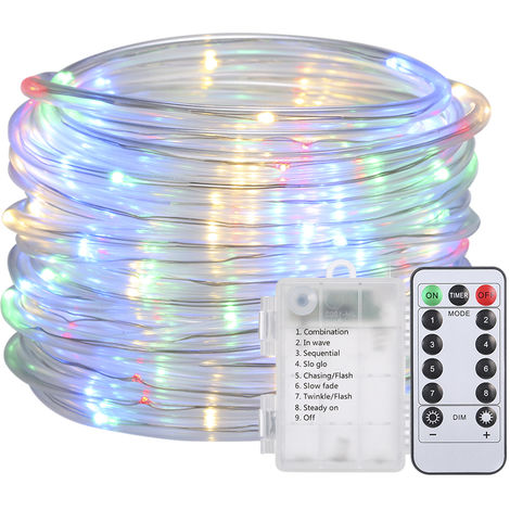 LED Water Pipe Light String Battery Powered with Remote Control Timing