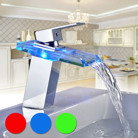 LED Waterfall Glass Basin Mixer Tap Single Handle Single Hole Bathroom Sink Faucet, 3 Colors Changing