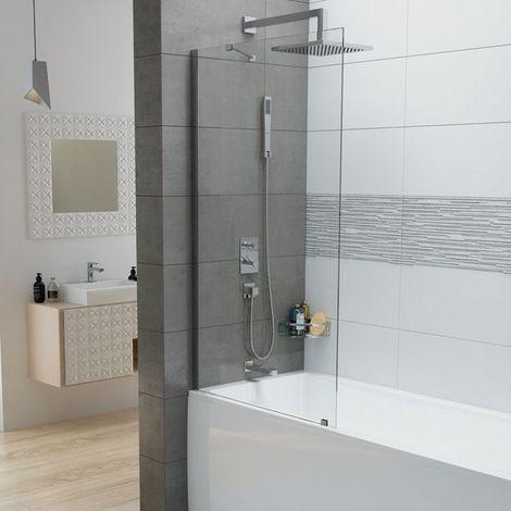 Leda - Pare-baignoire 1 volet fixe 150x80 cm verre transparent 6mm profilé argent brillant - FRISBEE