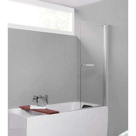 Leda - Pare-baignoire 1 volet pivotant 800x1500mm ouverture 180° verre transparent profilé argent satin - PREFACE