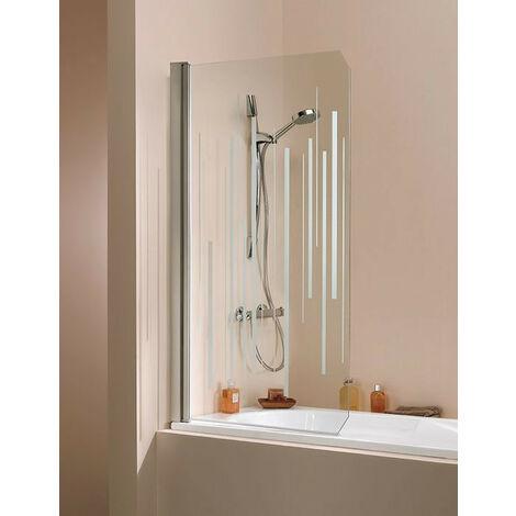 Leda - Pare-baignoire 1 volet pivotant réversible 1400x800 mm verre sérigraphie Clair profilé argent mat - JAZZ