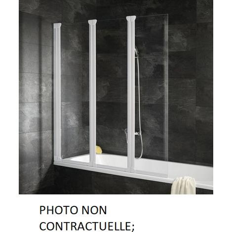 Leda - Pare-baignoire 3 volets pliants 1200x1400 mm translucide blanc - FIRST