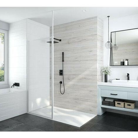 Leda - Paroi fixe douche ouverte 1000x1900 mm verre transparente profilé blanc - ATOUT 3