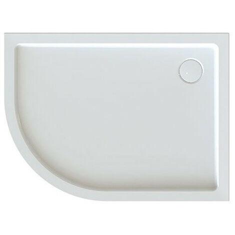 Leda - Receveur de douche 1/4 rond asymétrique droit 1000x800mm Profondeur 50mm blanc - FRISBEE