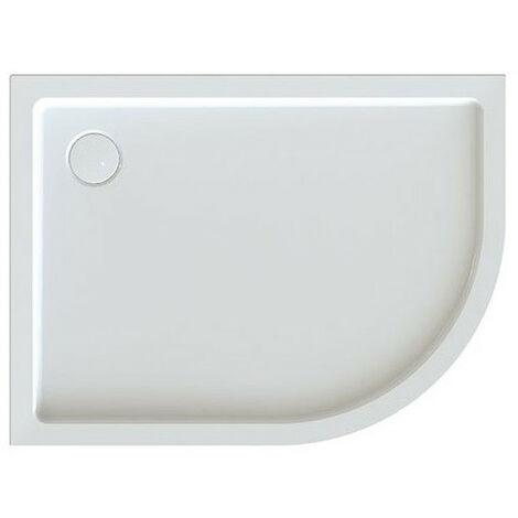 Leda - Receveur de douche 1/4 rond asymétrique gauche 1200x800mm Profondeur 50mm blanc - FRISBEE